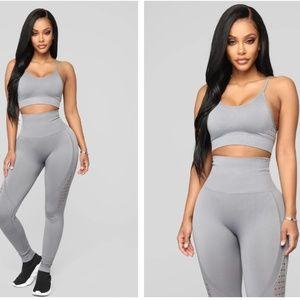 Fashion Nova Finesse Seamless Matching Set Grey SM